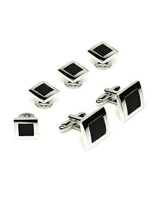 After Six Men's Color Block Studs and Cufflinks
