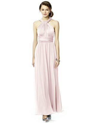 Twist Wrap Dress w/ Chiffon Overskirt: Long