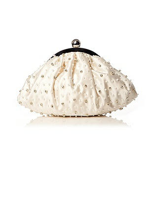 Beaded Matte Satin Bridal Clutch