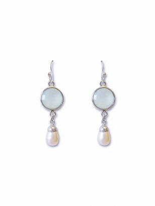 Pearly Aqua Chandelier Earrings
