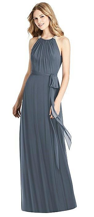 Neutral Bridesmaid Dresses Periwinkle Sash, Halter Neck Bridesmaid Dresses,Halter Neck Bridesmaid Dresses,