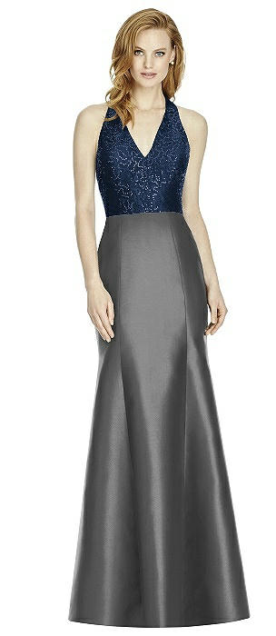 Studio Design Collection 4514 Full Length Halter V-Neck Bridesmaid Dress