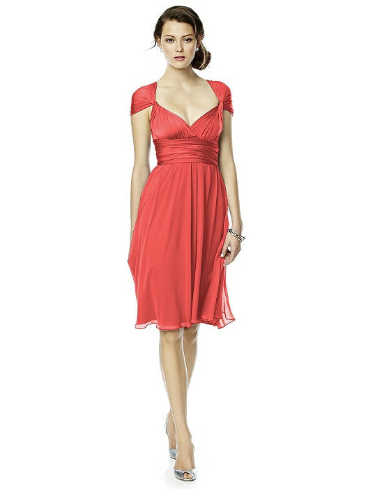 Twist Wrap Dress w/ Chiffon Overskirt: Short