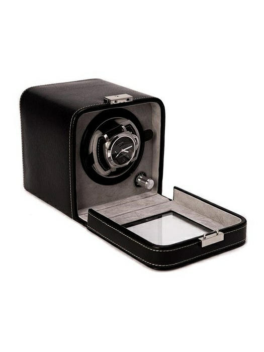 Black Leather Single Watch Winder With See-thru Glass Door and Locking Clasp