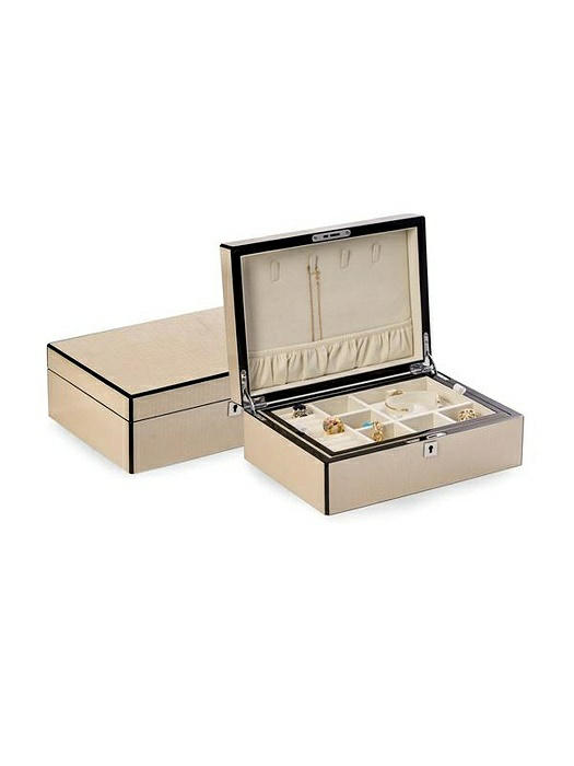 Lacquered Ivory White Jewelry Box with Etched Croco Design