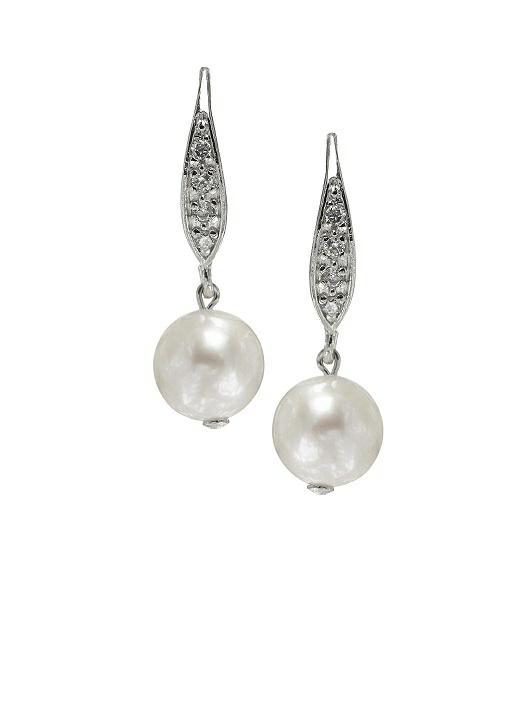 Pearl Pave Drop Earrings