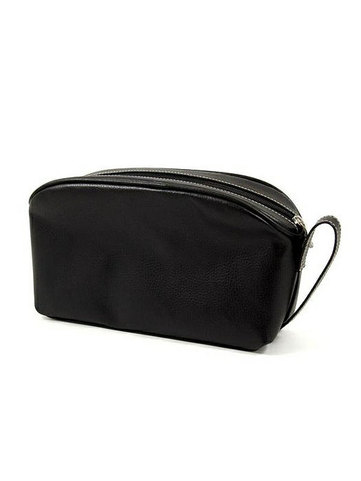 Black Leather Toiletry Bag with 6 Compartments and Zipper closure