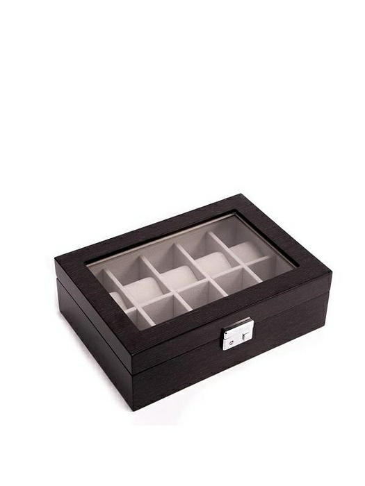Lacquered Steel Gray Wood 10 Watch Case