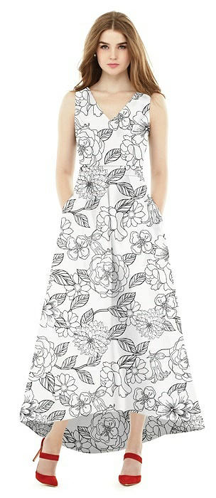 Alfred Sung Floral V-Neck High Low Bridesmaid Dress D723FP