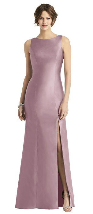 Sateen Trumpet Gown with Bow at Open-Back