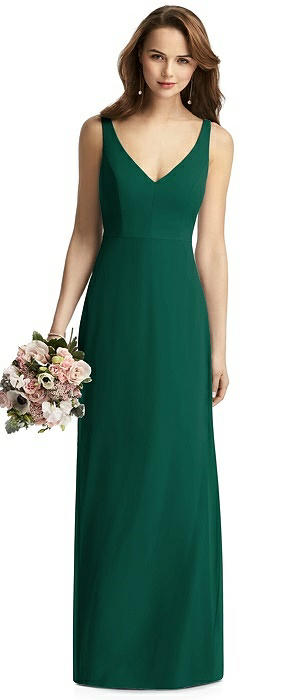 Peyton Long V-Back Shimmer Trumpet Dress