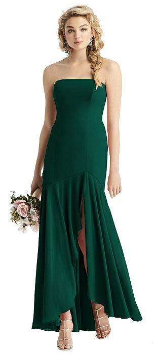 Strapless Matte Chiffon High-Low Gown