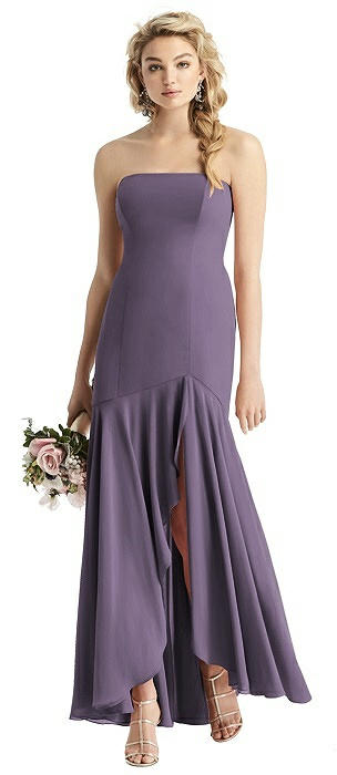 Strapless Matte Chiffon High-Low Gown
