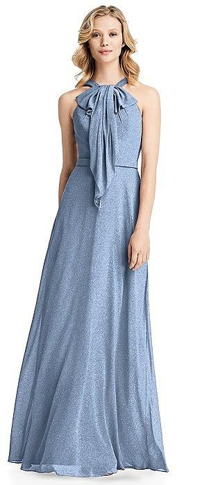 Long Ruffle Halter Shimmer Dress