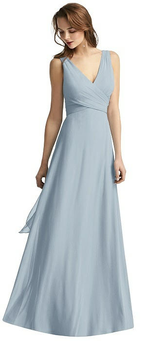 Layla Wrap V-Neck Chiffon Gown