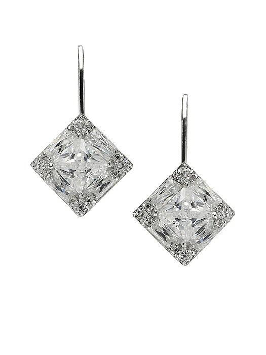 Faceted Princess Cut CZ Drop Earrings