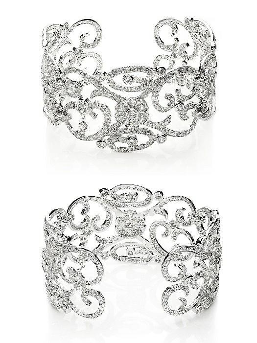 CZ Estate Scroll Cuff Bracelet