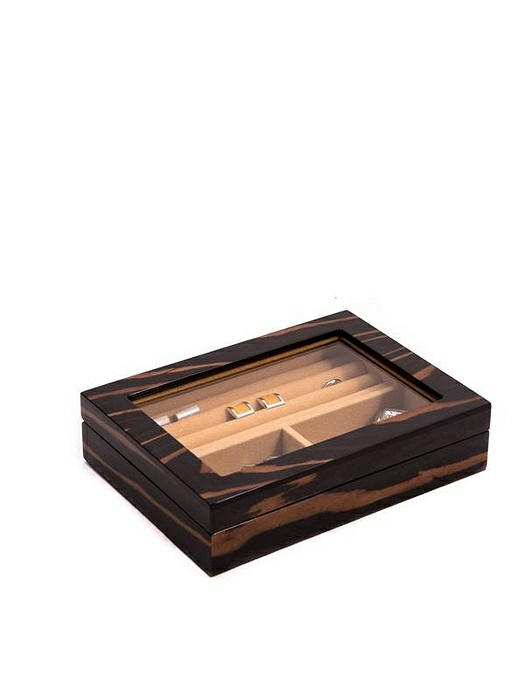 """""""Ebony"""" Lacquered Burl Wood Valet Box with Glass Top"""