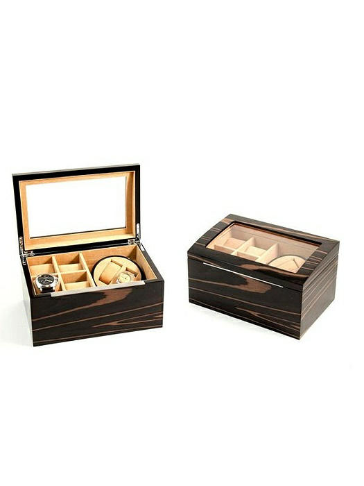 Lacquered Ebony Burl Wood 2 Watch Winder with Storage for 4 Watches