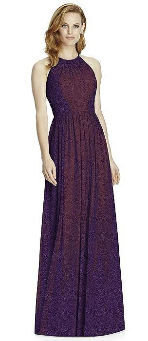 Studio Design Long Halter Shimmer Bridesmaid Dress 4511LS