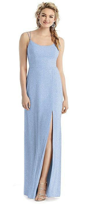 Shimmer Side Slit Cowl-Back Gown