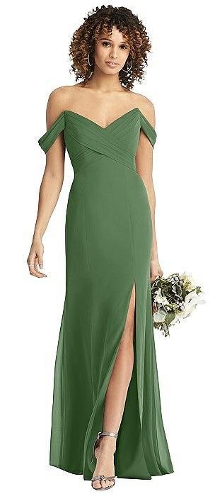 Off-the-Shoulder Chiffon Dress with Sash