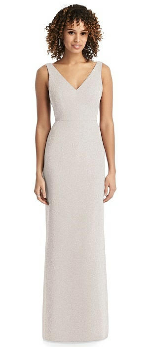 Shimmer V-Neck Trumpet Dress with Back Tie