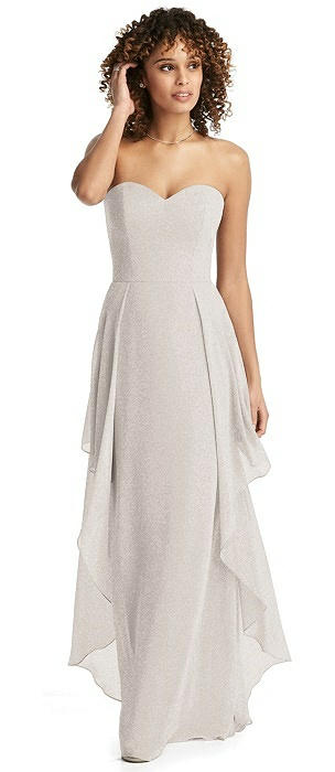 Shimmer Strapless Gown with Skirt Overlay