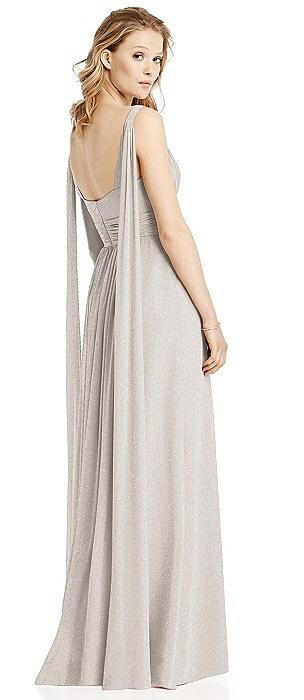 V-Neck Shimmer Gown with Streamer at Back Strap