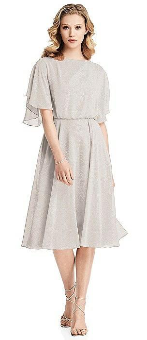 Flutter Sleeve Open-Back Shimmer Cocktail Dress