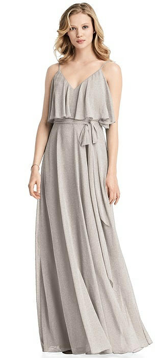 Shimmer V-Neck Gown with Ruffle Overlay Bodice