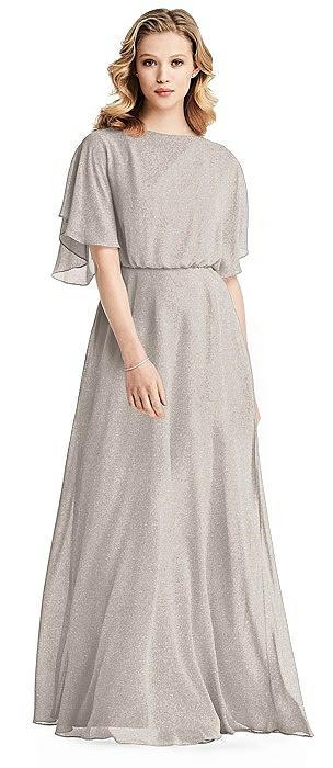 Flutter Sleeve Shimmer Open-Back Gown