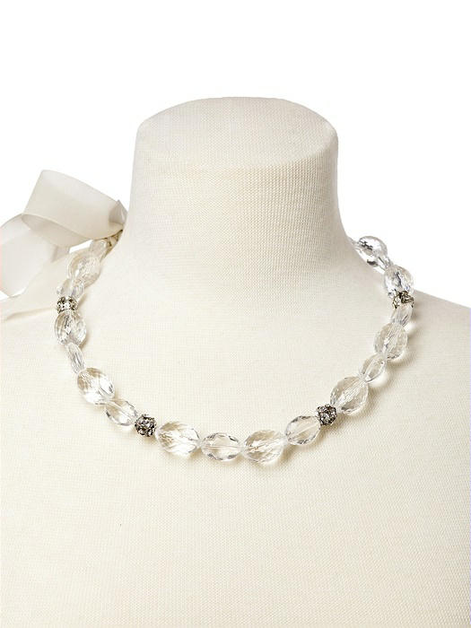 Faceted Resin Necklace with Rhinestone Accents