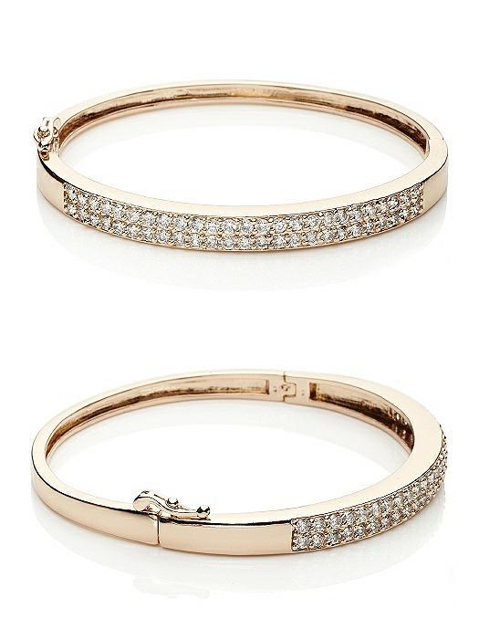 18K Rose Gold Plated Pave Cuff Bracelet
