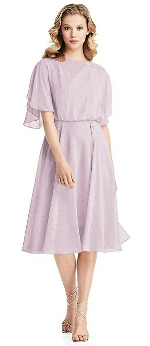 Flutter Sleeve Open-Back Shimmer Cocktail Dress