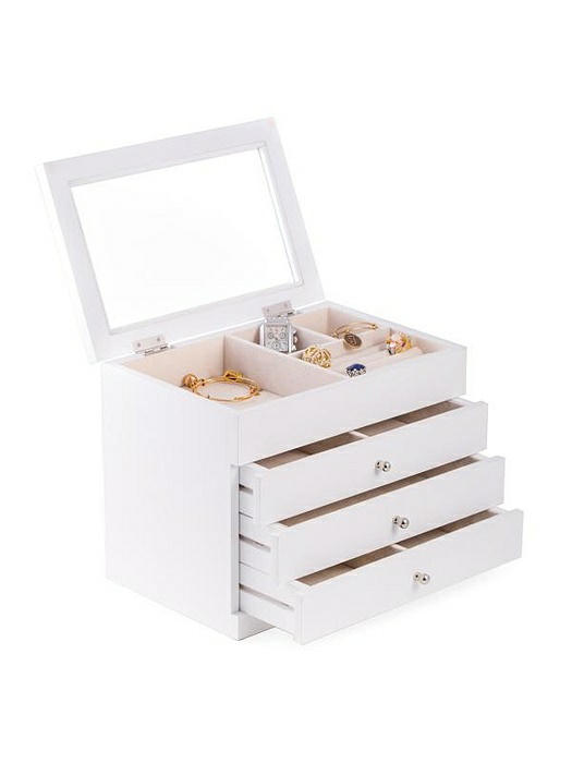 White Wood Jewelry Case with 3 Drawers and Glass See-thru Top