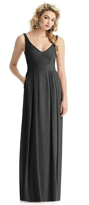 Pleated Skirt Shimmer Gown with Pockets