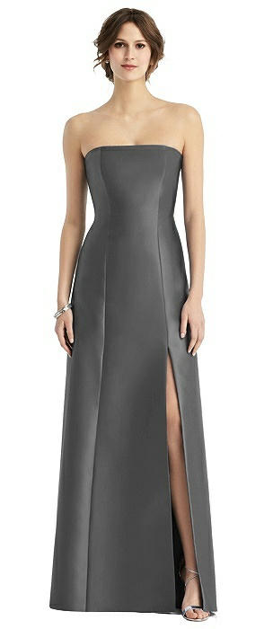 Strapless Sateen Gown with Front Slit