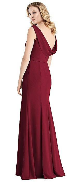 Cowl-Back Sleeveless Chiffon Gown