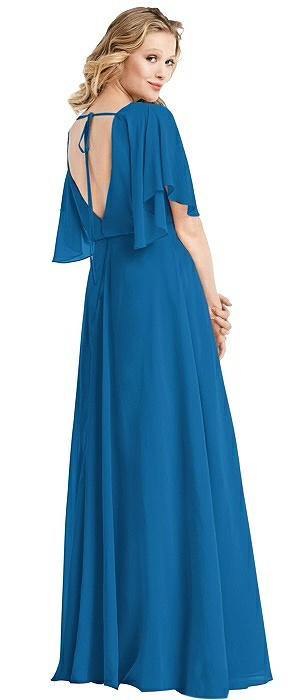 Flutter Sleeve Open-Back Gown
