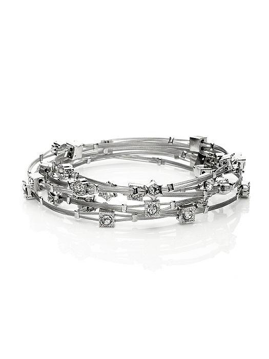 Crystal & Silver Stack Bracelet Set - 6 Pieces