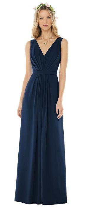 Sleeveless V-Pleat Sheer Crepe Gown