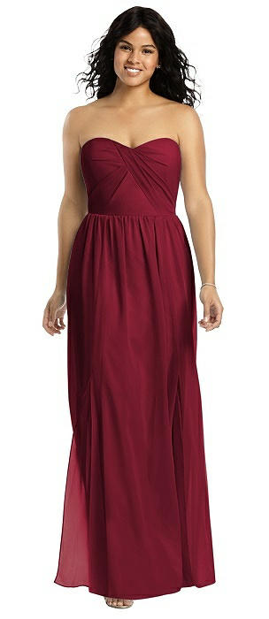 Strapless Draped Bodice Gown with Front Slits