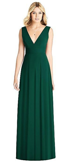 Sleeveless Deep V-Back Sheer Crepe Gown