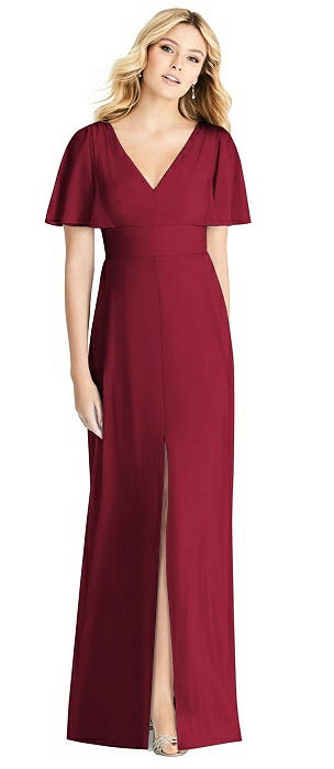 V-neck Sheer Crepe Gown with Split Ruffle Sleeves