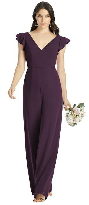 Adelaide Low V-Back Ruffle Sleeve Jumpsuit