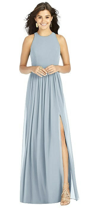 Halter Shirred Skirt Chiffon Gown with Front Slit