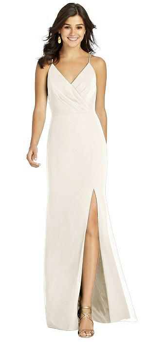Wrap Bodice Criss Cross Back Mermaid Gown
