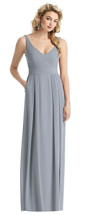 Pleated Skirt Full-Length Dress with Pockets