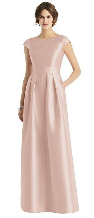 Cap Sleeve Pleated Sateen Gown with Pockets